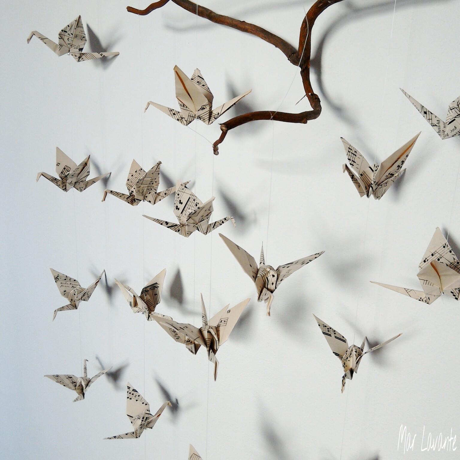 Origami závěsná dekorace z not - papíroví ptáčci / Zboží ... - photo#34