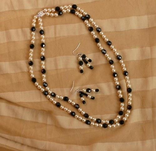souprava - náhrdelník + náušnice - černobílé