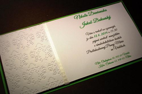 Svadobné oznámenie - čokoládovo zelené