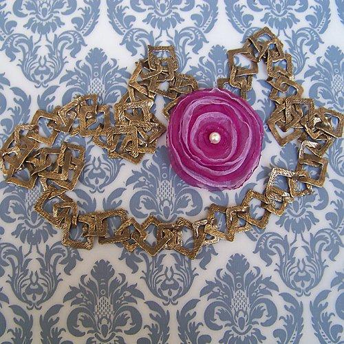 Bronzový náhrdelník čtverec s odepínací kytičkou