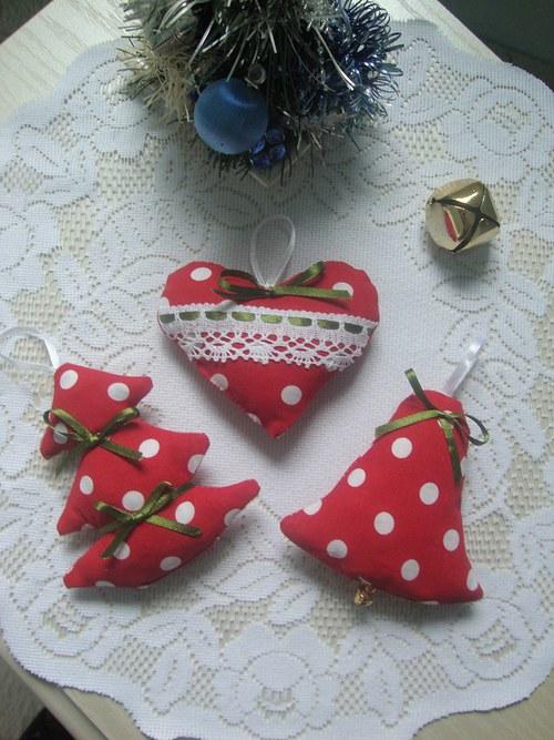 Vánoční ozdoby-červenobílý velký puntík č.2