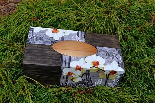 Krabička na kapesníky - PAŘÍŽ a orchidej