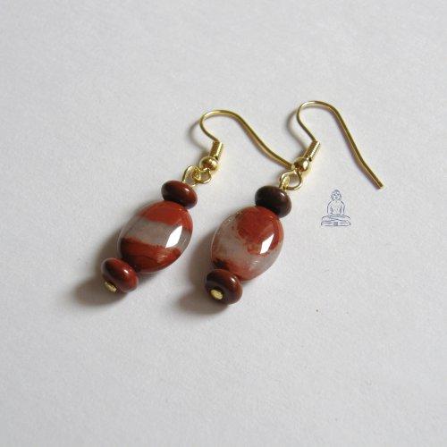 Naušnice - červený jaspis