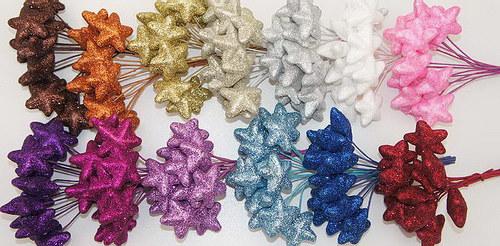 Hvězdičky na drátku - glitter (12 ks) - zlatá
