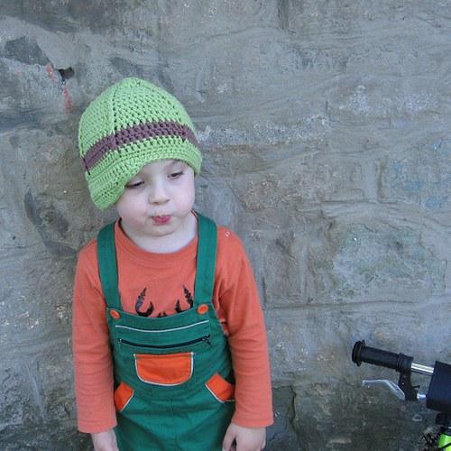 Zelený chlapecký baret