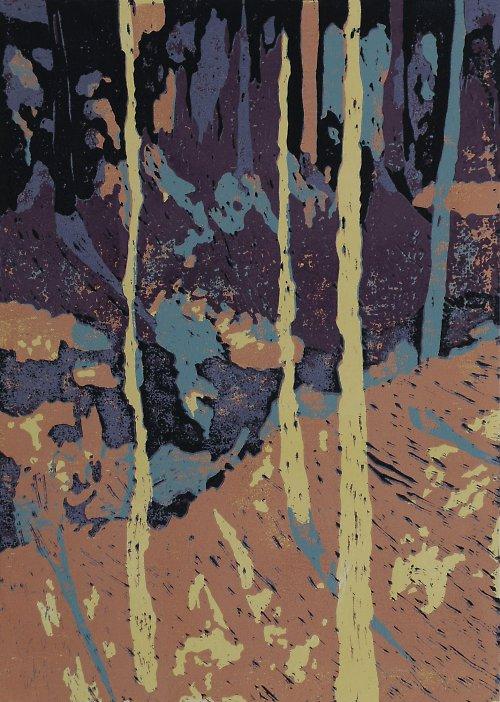 Rozostřené vidění- Kokořínsko- pětibarevný linoryt