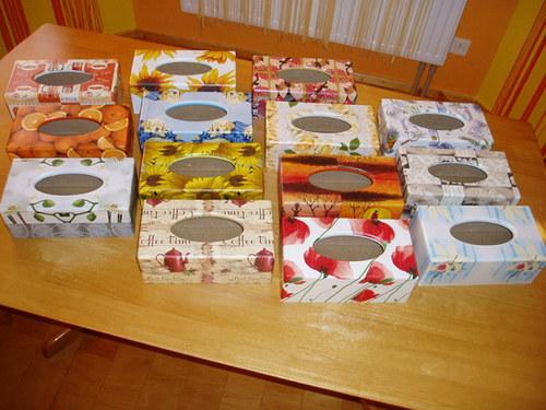 Krabičky na kapesníky Různé motivy
