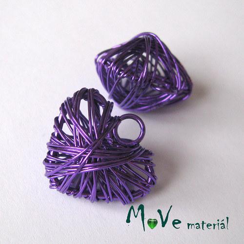 Přívěsek 20x22mm drátované srdce fialové 1ks