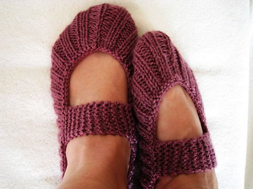 """Pletené papučky \""""Balerínky\"""" - fialová"""