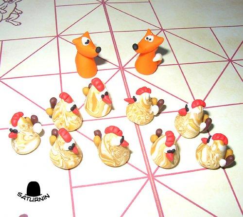 Liška a slepice - hra (verze 9 slepic, 2 lišky)