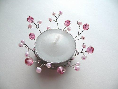 Dekorace na svíčku růžová