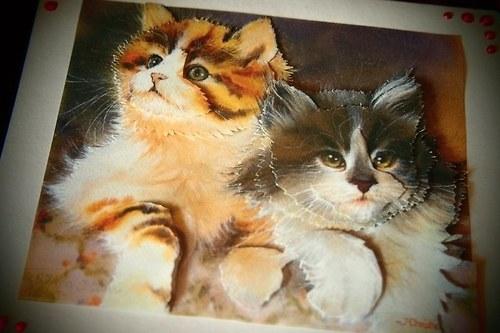 Přáníčko s kočičkami - 3D decoupage