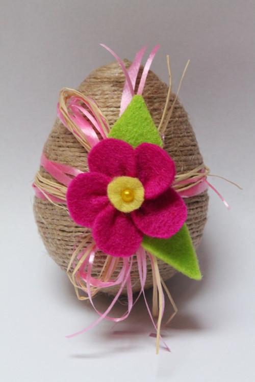 Vajíčko s kytičkou - tmavě růžová