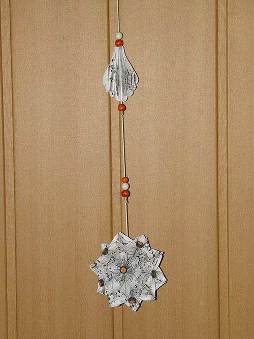 Vánoční kusudama - květina- závěs