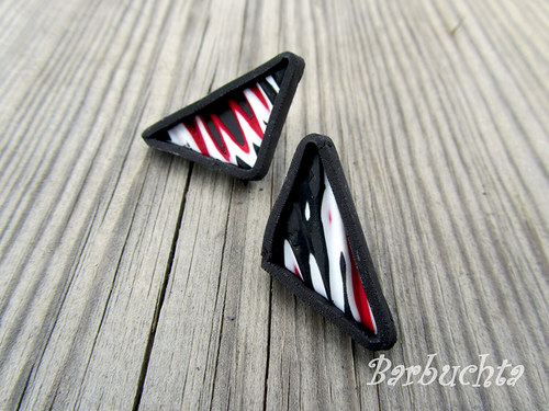 Náušnice BLACK & WHITE & RED