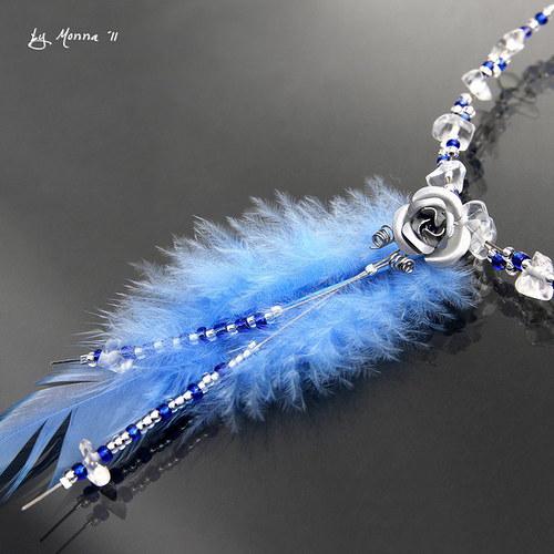 Lola - náhrdelník 1 peříčko - 1 růžička