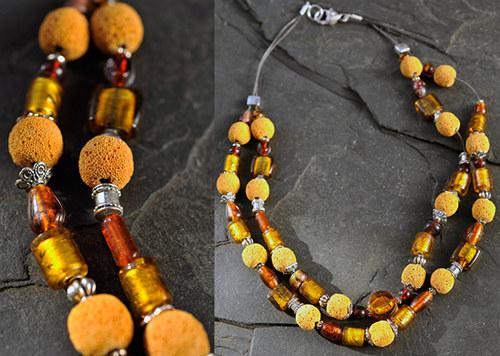Hnědý náhrdelník N0160B