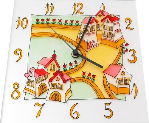 Cesta s domečky - hodiny čtvercové 25cm