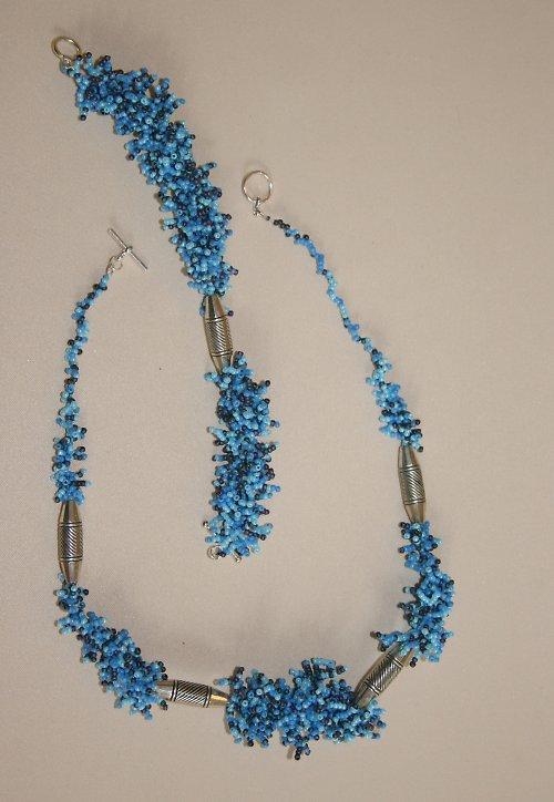 Modrá souprava - náhrdelník a náramek