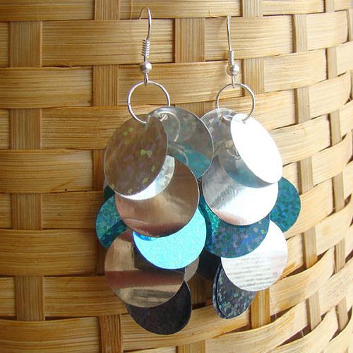 náušnice - flitrové stříbrotyrkys střapce