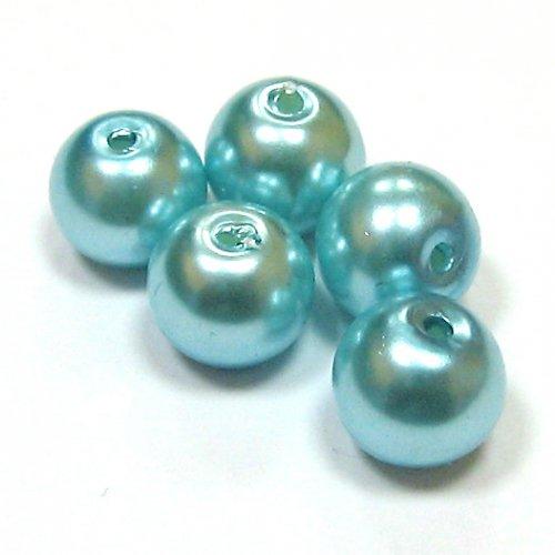 Perly voskové - 8 mm - tyrkysová - 10 ks