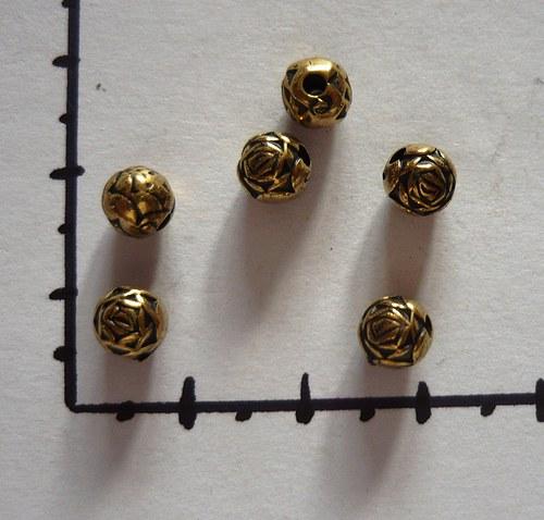 Pokovená kulička - růže staromosaz, 6 ks