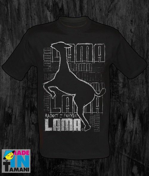 Pánské černé tričko s Lamou velký tisk 03