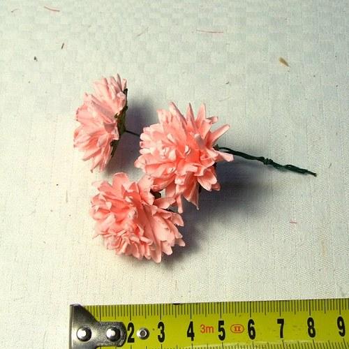 Květy papírové 3 ks - růžové