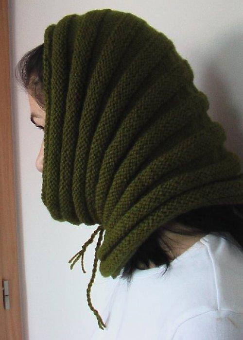Módní nákrčník - kukla zelená (khaki)
