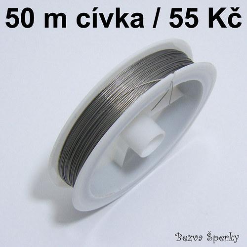 Ocelové lanko 50 m potažené nylonem, 0,38 mm