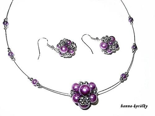 Souprava fialová - náhrdelník + naušnice