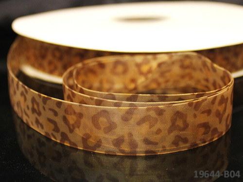 19644-B04 Stuha organza 20mm gepard hnědý, á 3m