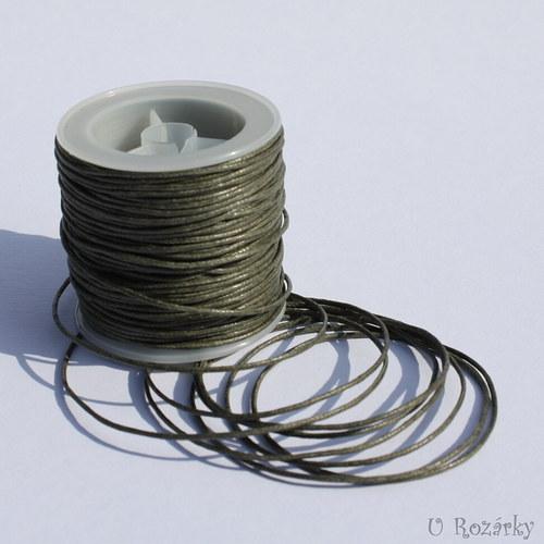 Bavln. vosk. šňůrka 1 mm,tm.khaki - cena za 3 m!