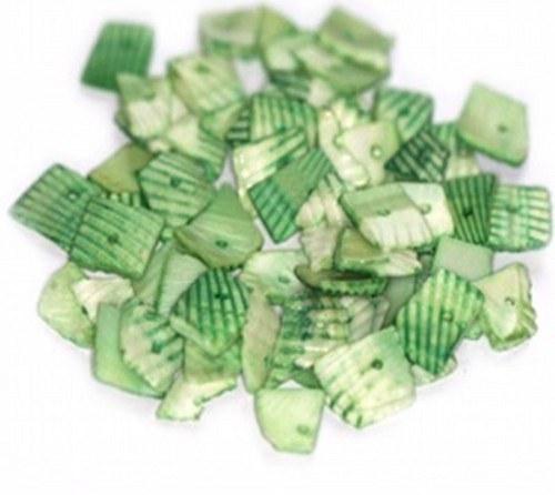 Korálky mušle 100g - řezané plátky, tmavší zelená