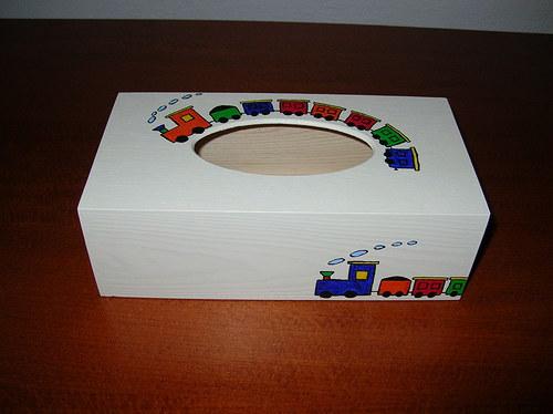 Krabička na kapesníky- vláčková