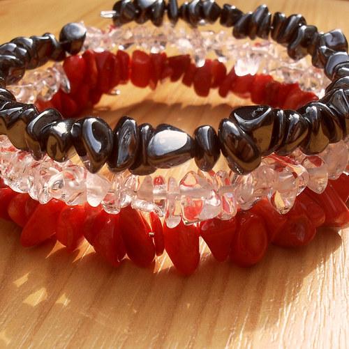 Červený korál, hematit a křišťál