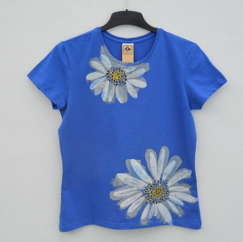 Dámské tričko Kopretiny v modrém