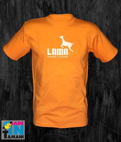 Pánské oranžové tričko s Lamou