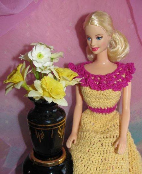 Barbie - šaty žluto-růžové