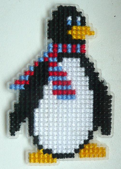 Vyšívaná magnetka - tučňák