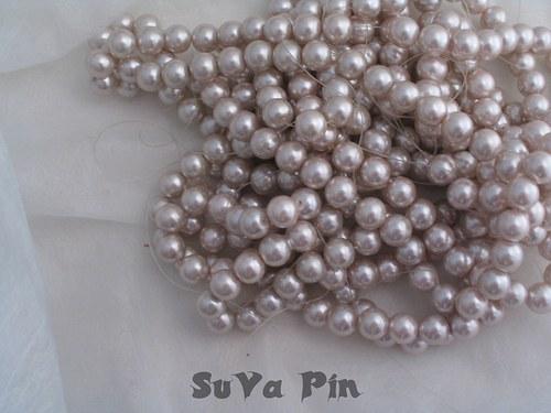 Voskované perly barva starorůžová 8mm; 40 ks