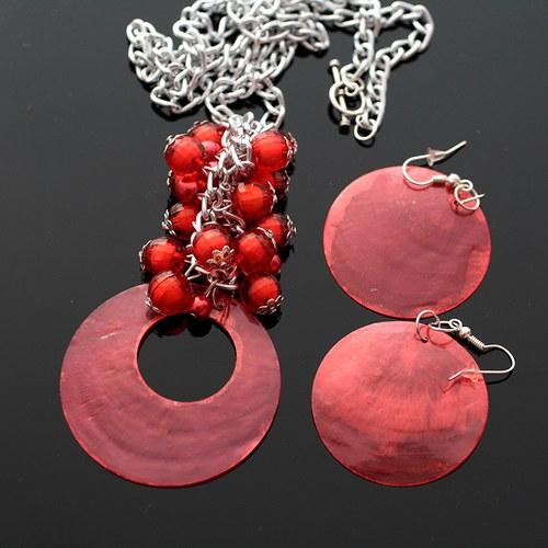 Červená perleťová sada - náhrdelník+náušnice