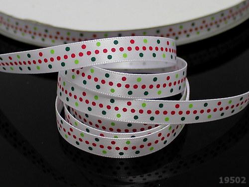 19502 Stuha vánoční 10mm BÍLÁ puntíky, svazek 3m