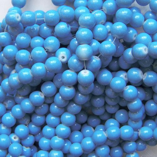 skleněné korálky LESK/ modrá sytá/ 4mm/30ks