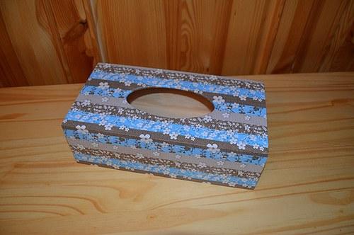 Krabička na kapesníky - kytičky na modré