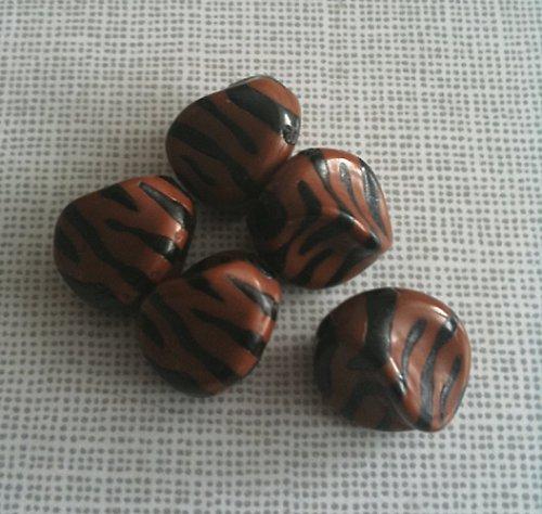 akrylové korálky,vzor zebra, 4 ks, barva hnědá