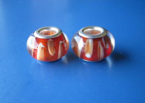 Skleněnvinutky-2ks-oranžova s bílo-oranž.proužkem