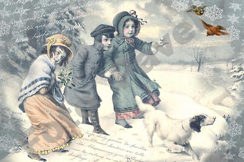 Vintage motiv - děti v zimě
