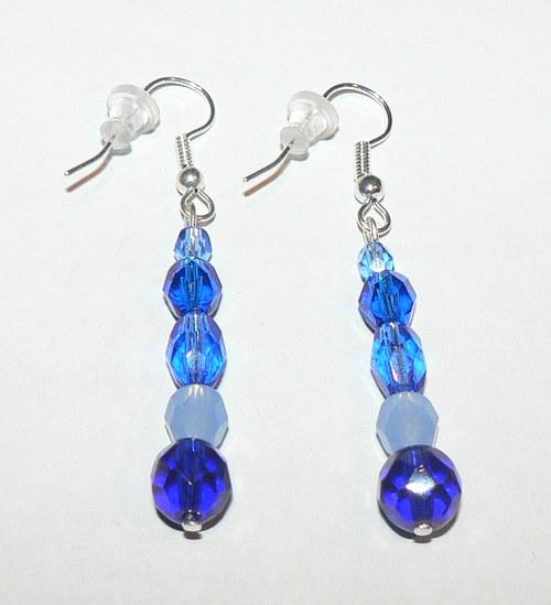 Náušnice - modré duhové - VÝPRODEJ!!!