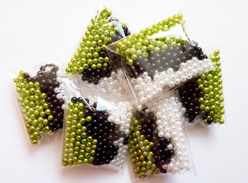 *300ks* Voskové perle mix Glace Ø 4mm zelená